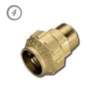 "Латунная компрессионная муфта для ПНД труб НР 32 мм x 1"""
